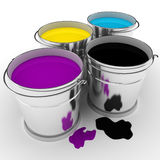 3d colorful paint buckets. 3d paint buckets on white background Stock Photos