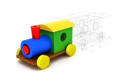 3d colorful plastic train. Isolated on white background. From childhood to adulthood concept Stock Image