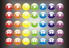 3D Colorful player buttons. On gradient black background Royalty Free Stock Image