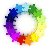 3d colorful puzzle chart wheel. Isolated on white Royalty Free Stock Photo