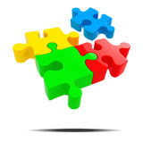 3d colorful puzzle pieces. 3d colorful puzzle piece on white background Royalty Free Stock Images