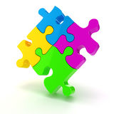 3d colorful puzzle pieces. On white background Royalty Free Stock Photo