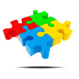 3d colorful puzzle pieces. On white background Royalty Free Stock Photos