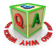 3d colorful q and a cube Stock Images