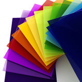 3d colorful sheets of transparent plastic Stock Photos