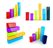 3d colorful shiny business graph. On white background Royalty Free Stock Photos