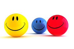 3d colorful smiley funny faces Royalty Free Stock Photography