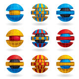 3d colorful sphere icons set. 3d colorful sphere icons set of 9 examles. Templates for icon or logo creation Stock Images