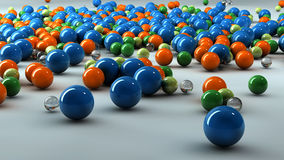 3D colorful spheres. Colorful 3D glass and plastic spheres Royalty Free Stock Image