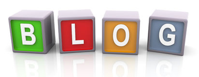 3d colorful text 'blog'. 3d render of reflective colorful text 'blog Stock Image