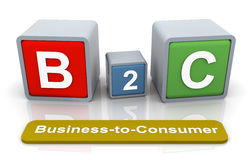 3d colorful textbox b2c Stock Image