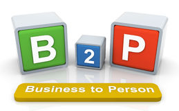 3d colorful textbox 'b2p' Royalty Free Stock Photos