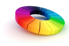 3d colorful wheel. 3d rainbow color wheel on white background Royalty Free Stock Photo