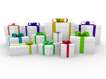3d colorful white gift box Royalty Free Stock Photos