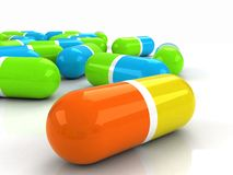 3D colour pills Stock Image