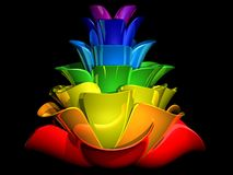 3D coloured bud. 3D image of a flower bud in rainbow colours over black background Royalty Free Stock Photography