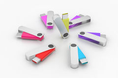 3D colourful models USB Flash Drive Stock Images