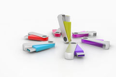3D colourful models USB Flash Drive Stock Photography