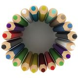 3d colourful pencils wave Royalty Free Stock Photo