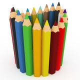 3d colourful pencils wave Stock Images