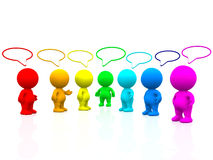 3D colourful people talking Royalty Free Stock Image