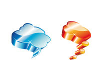 3D Comic Clouds. Blue and Orange High detailed Glossy Clouds Icons Royalty Free Stock Photography