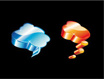 3D Comic Clouds. Blue and Orange High detailed Glossy Clouds Icons Stock Photo