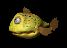 3D Comic Fish. A yellow comic fish with big eyes looking friendly Royalty Free Stock Photos
