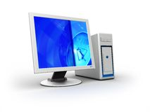 3d computer. 3d illustration of blue and white computer over white background Royalty Free Stock Photo