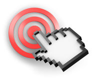 3d computer cursor. Three-dimensional computer hand cursor pointing on red target Royalty Free Stock Photography