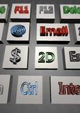 3D Computer keyboard. With shortcuts Stock Images
