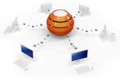 3d computer network with central hub server. On white background Stock Photo
