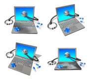 3d computer and stethoscope range four set Royalty Free Stock Image