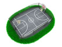 3D Concept Basketball. Arena on White Background Stock Photo