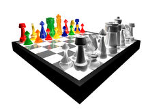 3d concept of colorful chess. Colored chess figures concept play against black and white isolated on white background stock illustration