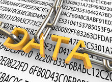 3d concept of data security. 3d text 'data' with closed chain on the background of hexadecimal data vector illustration