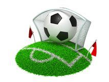 3D Concept Football. In Gate on White Background royalty free illustration