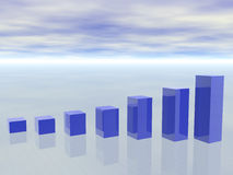 3d concept of growing Business Graph Stock Photo