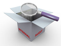 3d concept of internal audit. 3d magnifier glass hover over trial balance in the box. Concept of internal audit Stock Photo