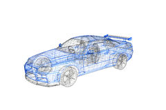 3d concept model of modern car project Royalty Free Stock Photo
