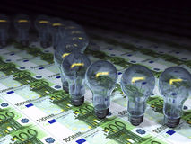 3d concept money and bulbs royalty free stock photo