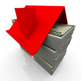 3d concept of real estate. 3d house red roof on the stacks of dollar bills. concept of real estate business Stock Image
