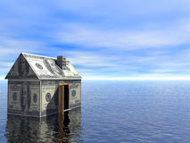 3D concept Real Estate dollar house. Concept Real Estate dollar house water and cloudy blue sky 3D Rendered Royalty Free Stock Image