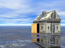 3D concept Real Estate dollar house. Concept Real Estate dollar house wet asphalt and cloudy blue sky 3D Rendered Stock Photo