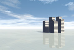 3d Conceptual city skyscrapers. On blue sky and rainbow Stock Photography