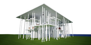 3d conceptual house, on white background. 3d conceptual house on white background, showing a many columns defining space Royalty Free Stock Photos
