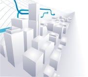 3D conceptueel abstract ba van de Stad Stock Afbeeldingen