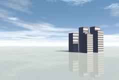 3d Conceptuele stadswolkenkrabbers Stock Fotografie