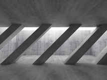 3d Concrete Interior. Diagonal Columns Stock Photography