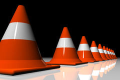 3D cones. Row 3D cones on reflective surface Stock Photos